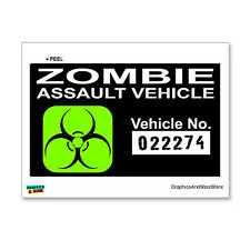 Zombie Assault Vehicle Green on Black Biohazard Response Team Sticker