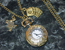 Alice in Wonderland Pendant Pocket Watch Long Necklace with Rabbit and Cards