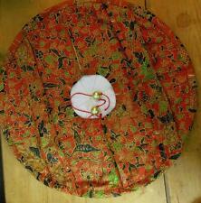 "Fabric Casserole Pie Cover Carrier / Handles Round 18"" Diameter Paisley Cotton"