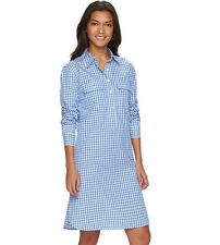 Women's CHAPS Shirt Dress LARGE Blue & White Long Sleeves 8-88572-71217-6