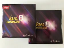 2 X DHS Hurricane 8 Table Tennis Rubber With Sponge For Paddle 2.15mm 40 Degree