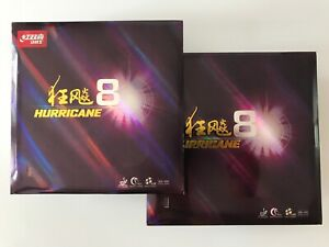 2 X DHS Hurricane 8 Table Tennis Rubber With Sponge For Paddle 2.15 mm 40 Degree