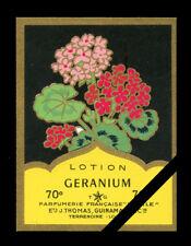 Vintage French Perfume Soap Label: Geranium Cologne - Etoile, Paris France