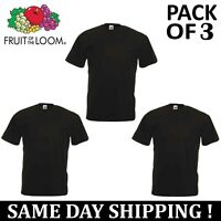 PACK OF 3 Fruit Of The Loom Plain Mens Black T Shirt S to XL Blank T-Shirt Tee