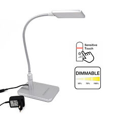 Tactile Dimmable Lampe de Bureau LED Métal Argent Lampe de Chevet Lampe de Table