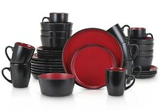32 Piece Stoneware Dinnerware Set Red Black Plates Bowls Mugs