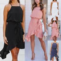 Womens Ladies Summer Dot Print Boho Evening Party Cocktail Beach Dress Sundress