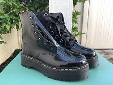 US 11 UK 9 Women's Shoes Dr. Martens MOLLY Patent Lace Up Platform Boots Black