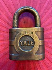 Vintage Yale Brass Railroad Padlock Lock For NKP (Nickel Plate RR)