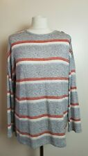 Ladies Size 10 Grey Striped Long Sleeve Jumper A3