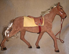 Vintage STEHA Flocked Horse Toy w Wheels Brown w Saddle & Bridle 1960's