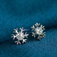 1 Par copos de nieve Pendiente de botón Plata Chapado Cristal Navidad