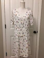 New Madewell Daylily Pintuck Dress Sweet Blossoms Matilda White Wash Sz 14 J7429