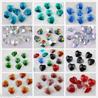 10pcs 14mm Heart Crystal Glass Charms Faceted Loose Spacer Bead Pendant Findings