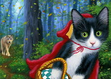Kitten cat wolf forest Little Red Riding Hood fantasy OE aceo print art