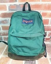 "VTG JanSport USA Green Nylon Brown Leather Bottom 17"" Daypack Unisex Backpack"