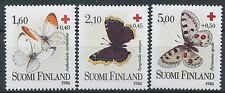Finland 1986 MNH Red Cross Butterflies - Apollo - Mourning Cloak Scott B235-237