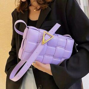 Ladies Shoulder Bag Crossbody Weave Woven Flap Leather Handbag Fashion Women UK