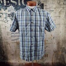 Austin Clothing Co Men's Blue Plaid Thick Thread Short Sleeve Shirt Size Large