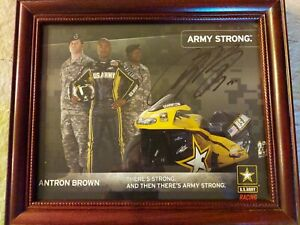 Army Strong Antron Brown NHRA autographed framed 8×10 photo