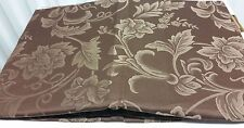 """DAMASK LINEN Tablecloth 70"""" ROUND (4-6 people) FLOWERS ON BROWN by BH"""