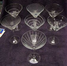 8 Mikasa Cheers Pattern Crystal Martini Glasses Dots and Lines