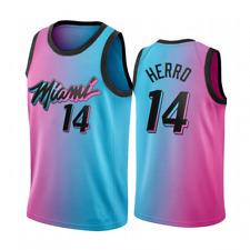City Edition Tyler Herro #14 Miami Heat Basketball Jersey Stitched  Pink Blue