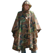 WATERPROOF HOODED US ARMY RIPSTOP FESTIVAL RAIN PONCHO MILITARY CAMPING HIKING