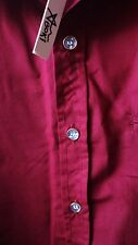 NWT Aboki Burgundy Button Down Short Sleeve Blouse 100% Cotton Size Large