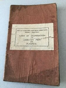 G.E.R 1919 Booklet Form Of Examination For Look - Out Men and Flagmen