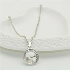 Stunning Ladies Girls Silver Chain Round Crystal Pendant Necklace jewelry