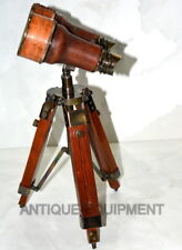 VINTAGE BRASS BINOCULAR LEATHER MERITIME COLLECTIBLE GIFT WITH WOODEN TRIPOD