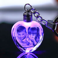 Customized Crystal Baby Photo LED Light Personalized Glass Picture key chain
