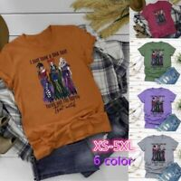 Women's Think Witch Basic T-shirt Halloween Casual Hocus Pocus Funny Shirt