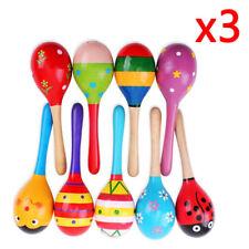 3x Wooden Maraca Rattles Musical Baby Children Shaker Toy BUY 2 SET,Get 1ps Free