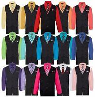 Boys Formal Vest Pants Set Shirt Tie Pinstripe Wedding Suit Kids Size 5-7 8 - 20