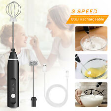 Handheld Milk Frother Electric USB Rechargeable Foamer Mixer 3 Gear Coffee Drink