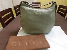 GUCCI Guccissima Sage/GreenGray  Leather Embossed Pelham Horsebit Hobo Purse Bag