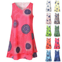 Summer Womens Plus Size Print Midi Loose Shift Sleeveless Tank Vest Sun Dress