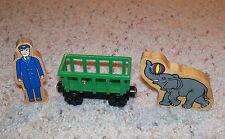 Thomas Train Wooden Circus Zoo Car Set, Wood, Elephant Animal, Engineer Figure