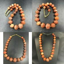 Beautiful Old African Carnelian Pumkin Carved Agate Stone Beads Necklace