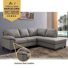 BARCELONA Grey Genuine Real Leather Corner Sofa