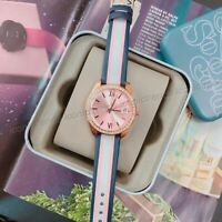 NWT 🌸 Fossil ES4595 Scarlette Mini Striped Pink Navy Blue Leather Crystal Watch
