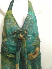 Zara Halterneck party dress L Exc Cond worn once Green leaf pattern with yellow
