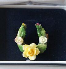 Vtg Royal Doulton English Bone China Flower Rose Gold Tone Pin Orig Box
