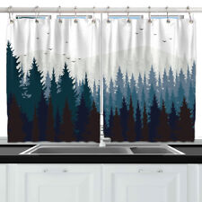 Dark Forest and Mountain Kitchen Curtains 2 Panel Set Decor Window Drapes