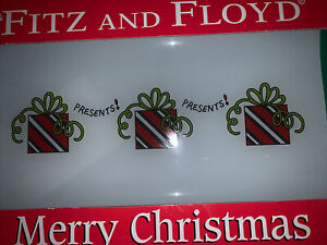 """Fitz and Floyd Multi Color Xmas Presents Glass tray NEW IN BOX  12 1/2 x 7 1/2"""""""