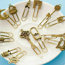 10 Piece/lot Cute Metal Bookmark Vintage Key Bookmarks Paper Clip For Book