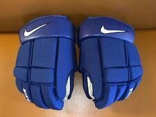 "CRAZY RARE! Royal Blue & White NIKE Swoosh Ice Hockey Player Gloves 14"" NEW! VTG"
