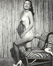 Org Vintage 40s-60s Nude RP- Bamboo Wall- Zebra Stripped Chair- Heels- Stockings